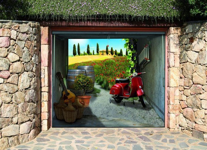 Как украсить ворота гаража