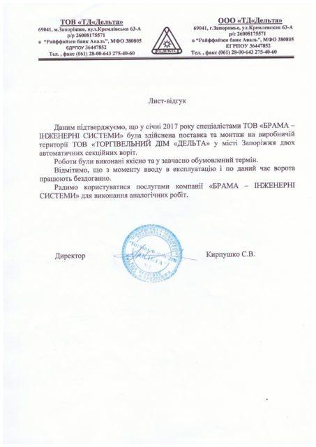 Письмо отзыв ООО ТД Дельта